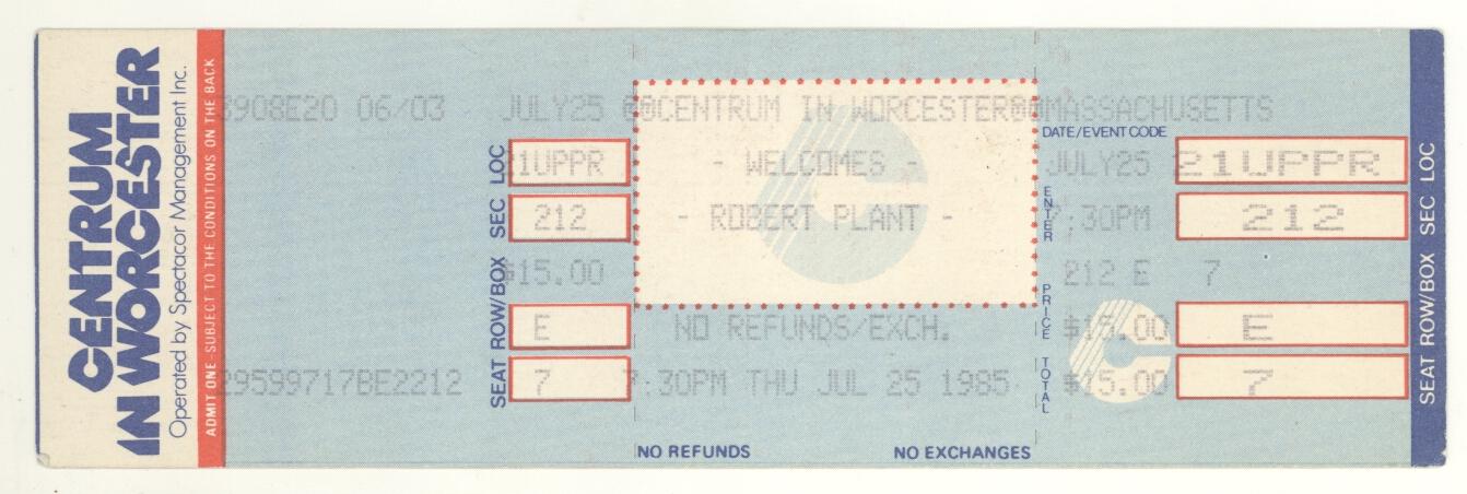 Rare-ROBERT-PLANT-7-25-85-Worcester-MA-The-Centrum-Full-Ticket-Led-Zeppelin